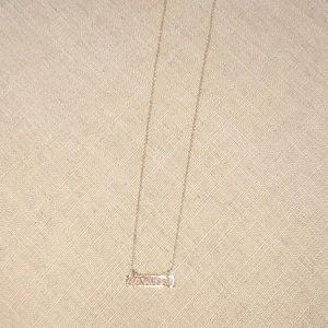 Jewelry - Beautiful Gold Resin Druzy Vertical Bar Necklace